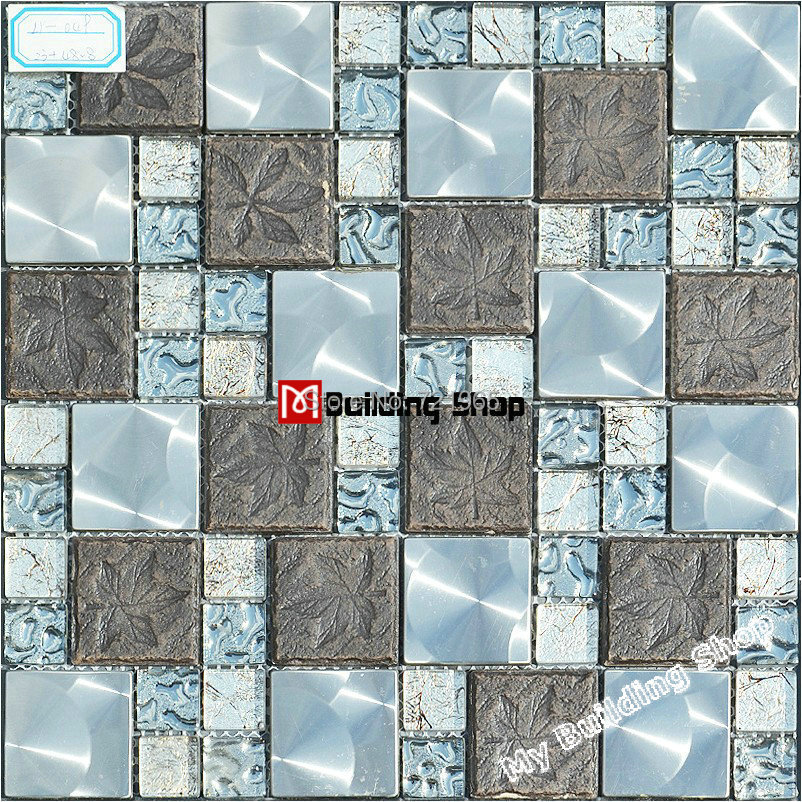 glass metal mosaic kitchen backsplash tile ssmt122 blue