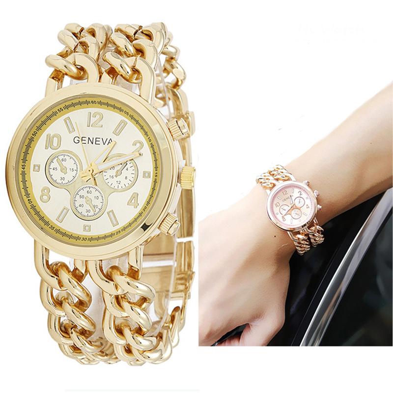 Bottom Price Using APP Buying! Double Chain Gold Geneva Watches Women Luxury Reloj Mujer Marca De Lujo Famosas Hodinky Women(China (Mainland))