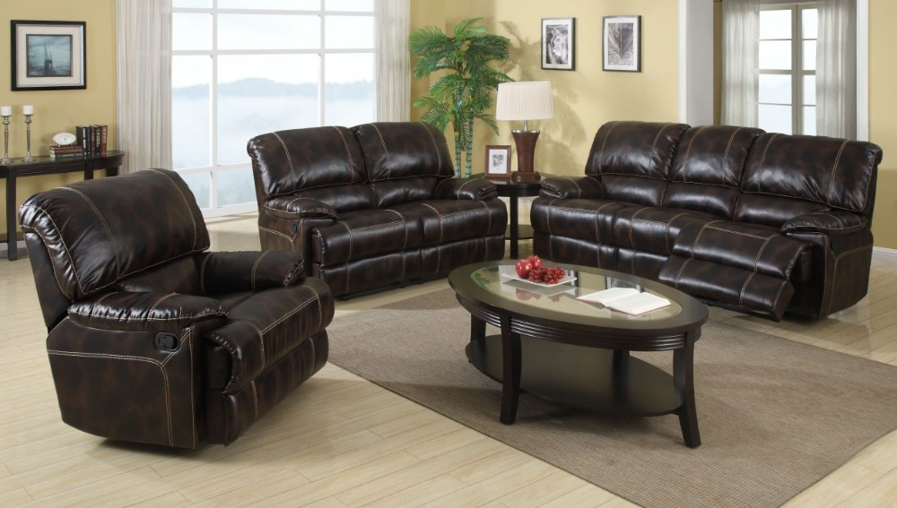 Uk American Canada Recliner Bonded Leather Sofa Sets 3 2 1 For Living Room Leather Sofa Set With