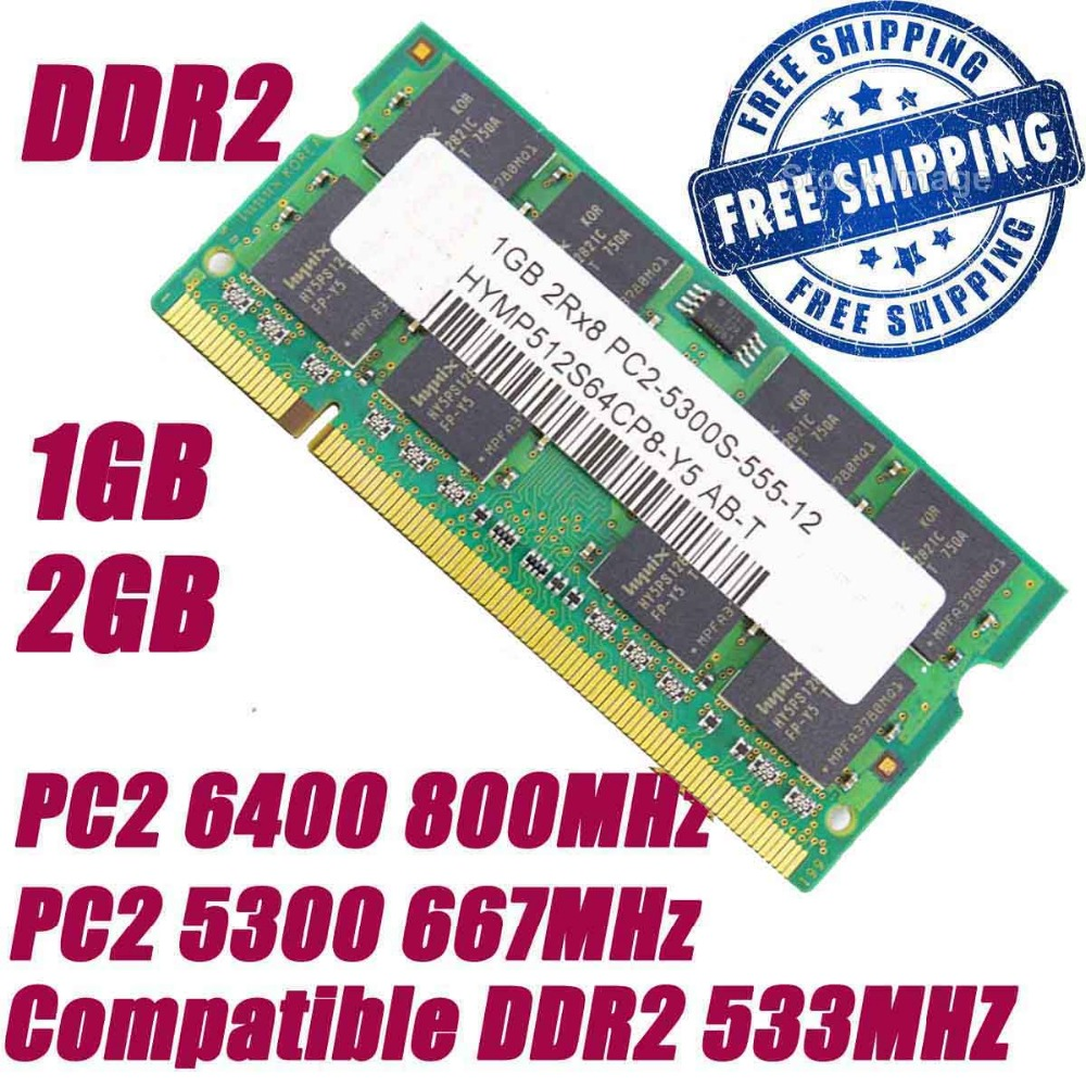 1GB 2GB DDR2 800 800MHz PC2 6400 DDR2 667 667MHz PC2 5300 200Pin Laptop Notebook SODIMM Memory RAMs + Free Shipping