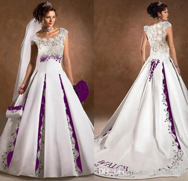 Purple and white wedding dress a line satin lace for Purple lace wedding dress