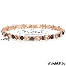 Davieslee Womens Bracelet Jewelry Square Bismark Multi Colors CZ Stone 585 Rose Gold Bracelets For Women Gifts 5.5mm LGBM101(China)