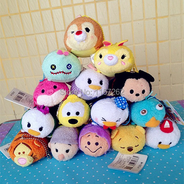 15PCS/SET Original Tsum Tsum Stuffed Plush Phone Screen Cleaner Charm With Original Tags Toys(China (Mainland))