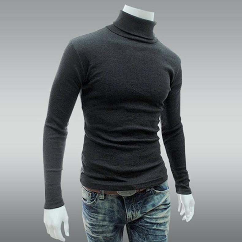 Casual Pullover Men Turtleneck Sweaters Thin Slim Fit Long