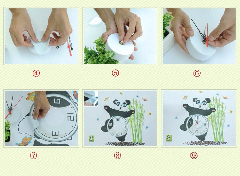 Personalized clock wall stickers cute panda pattern include watch movements creative wall clock decals wall art decorative clock