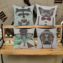 Buy Hot Sale Obeny Cotton Linen Cartoon Dogs Cats Cushion Filler Pillow Chair Car Sofa Cushions Decorative Throw Pillows 45*45cm for $3.15 in AliExpress store
