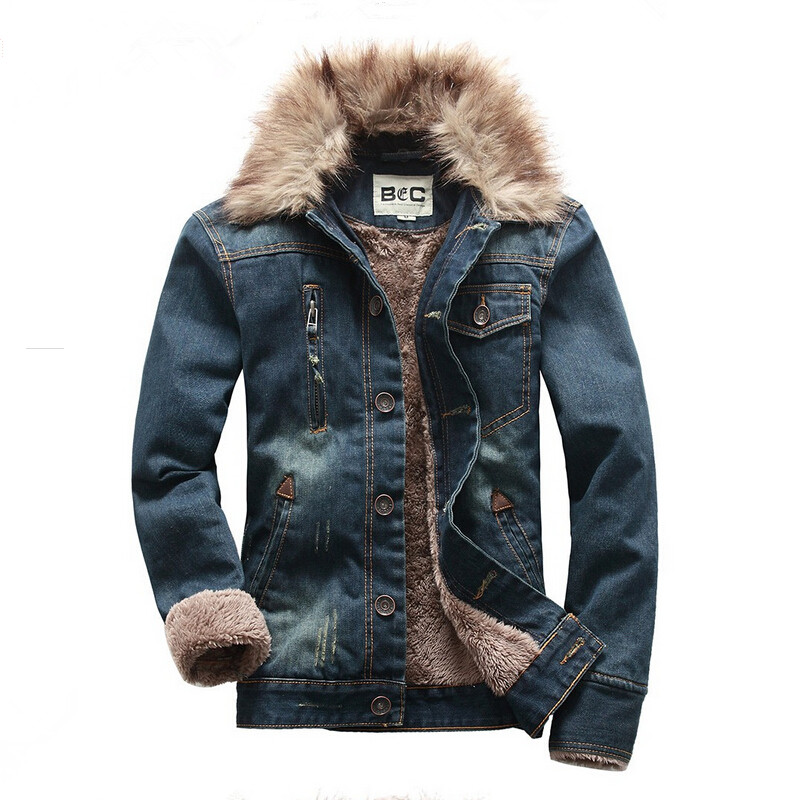 2015 man winter clothing fashion long sleeve turn down collar mens denim jacket with fur for men ...