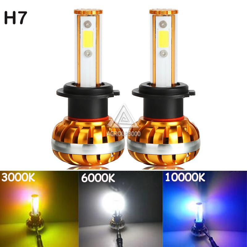 2 x Plug&Play H7 LED Car Headlight Bulbs 60W COB Chips All In One Auto Headlight Lamp LED H7 12V 3000K 6000K 10000K 3 Colors DIY(China (Mainland))