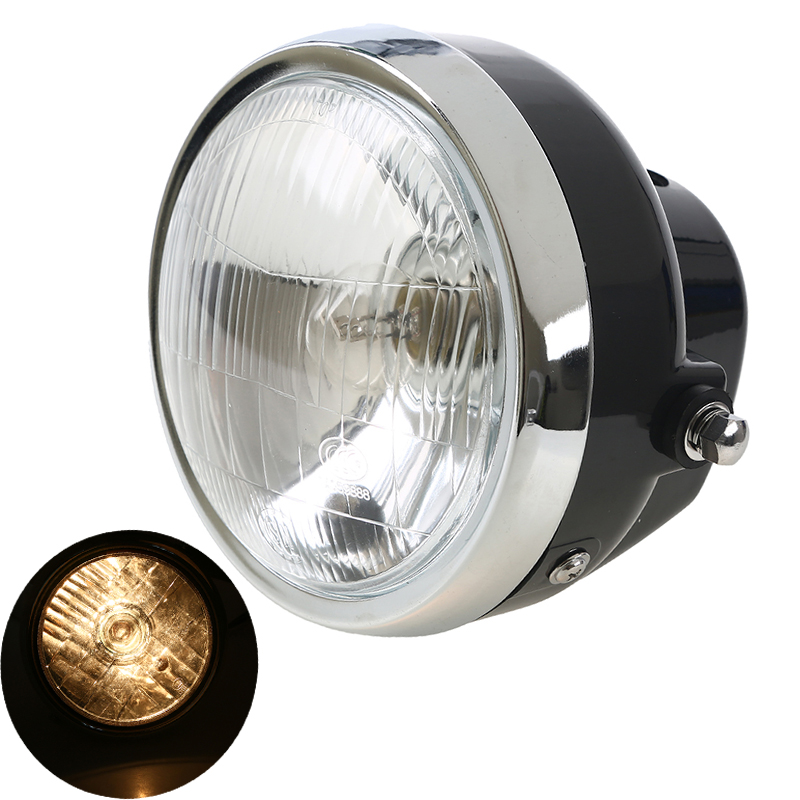 New Universal Motorcycle Custom Black Headlight Headlamp Round High Low Beam Amber Light For Honda JH 70 Harley Cafe Racer Moto(China (Mainland))