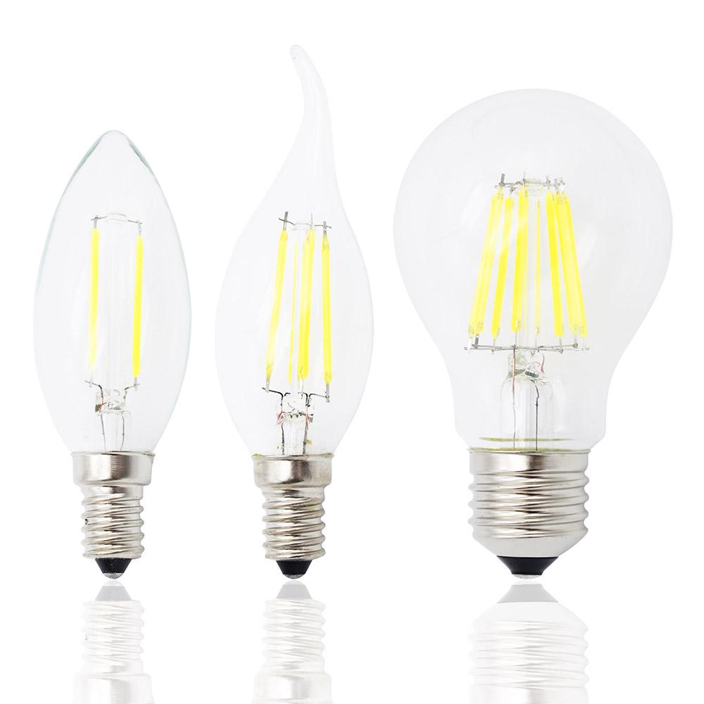 E27 E14 Dimmable led Filament bulb 4w 8w 12w 16w High Power Glass globe bulb 220V 240V Retro led Edison lamp candle light(China (Mainland))