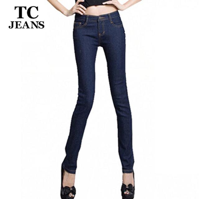 women skinny jeans for women long denim trousers pencil pants elastic plus size jeans female mid waist casual blue black jeans