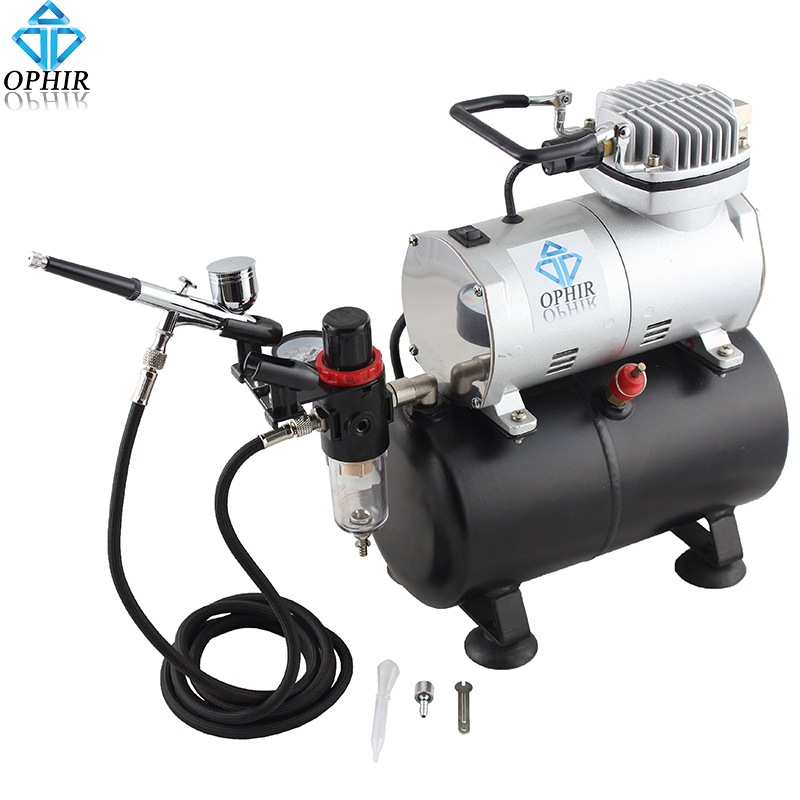 OPHIR Body Paint Makeup Dual-Action Airbrush Kit with Air Tank Compressor for Model Hobby Cake Body Art Tattoo _AC090+AC004(China (Mainland))