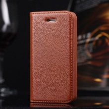 Real Genuine Leather Cover For iPhone 4 4S 5 5S SE Case Magnet Flip Covers Litchi Lines Smart Kickstand Mobile Phone Cases(China (Mainland))