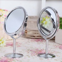 Metal Small Desktop Mirror Mirror Double-Sided Makeup Mirror Toilet Glass Zoom Function Make up lens cosmetic mirror(China (Mainland))