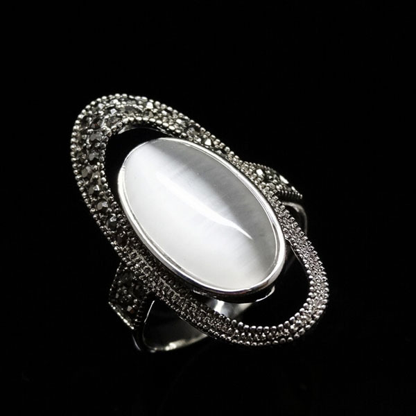 RC005 Big Luxury Bohemia Ethnic Retro Oval Opal Rock Stone CZ Crystal Vintage Silver Rings Women Jewelry - SIRENA store