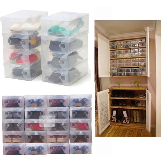 10pcs/lot Plastic Foldable Shoe Storage Boxes Case Stackable Organizer Shoe basket Holder(China (Mainland))