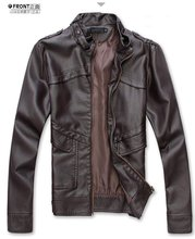 Free shipping2012 New Mens leather jacekt +Men's  casual jacket slim fit with belt,PU leather ,2color,4sizes,drop shipping MLJ11(China (Mainland))