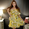 Original 2016 Brand Vestidos Casual Plus Size Wide Hem Slash Neck Elastic High Waist Cute Elegant