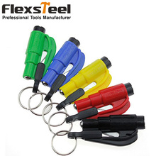 1PC Car Styling Pocket Auto Emergency Escape Rescue Tool Glass Window Breaking Safety Hammer with Keychain Seat Belt Cutter(China (Mainland))