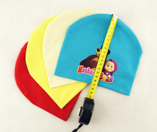 New Cotton Baby Hats Candy Color Boys Girls Caps masha and bear Infantil Children Warm Knitted