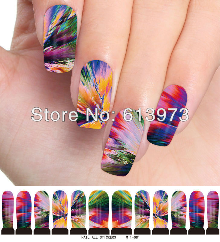 M1-081,10Sheets New Latest 10styles available trendy nail art wraps water sticker foils cover decals glitter decoration - Coner Love store