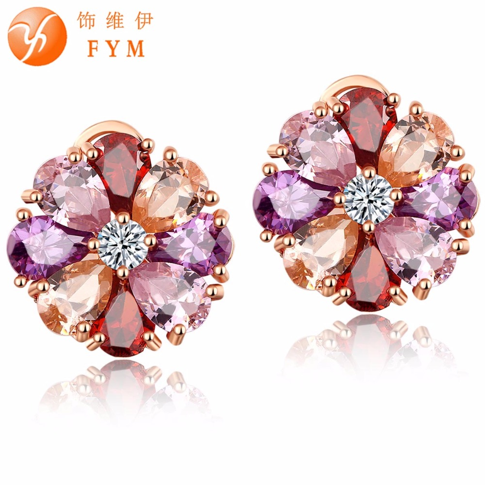 Hot Selling Mona Lisa Multi-Color Flower Shape Stud Earrings Rose Gold Plated CZ Diamond Fashion Earrings for Women Party ER0171(China (Mainland))