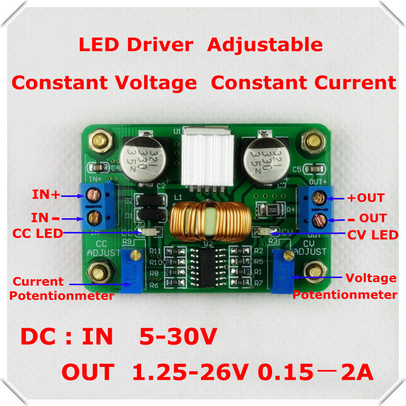 LED Driver DC-DC constant voltage comstant current adjustable buck converter step-down power supply module[ 4 pcs/lot](China (Mainland))