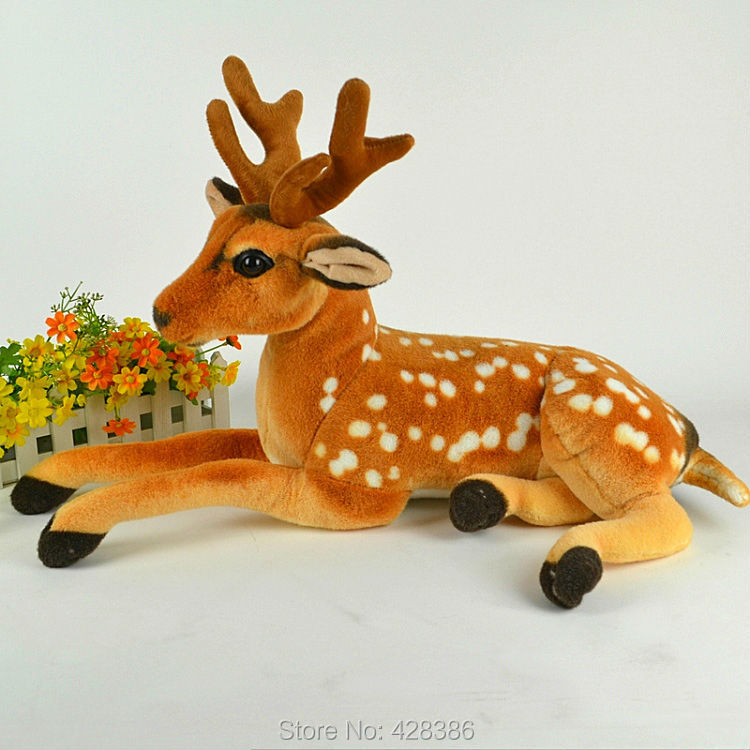 23.6 inches high qualify plush deer simulation shansi sika doll stuffed animals & bambi classic toys children gift - Truman Hua's store