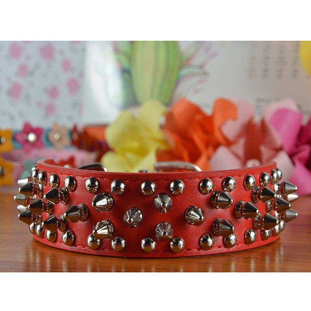 Colorful PU Leather Spiked Dog Collar