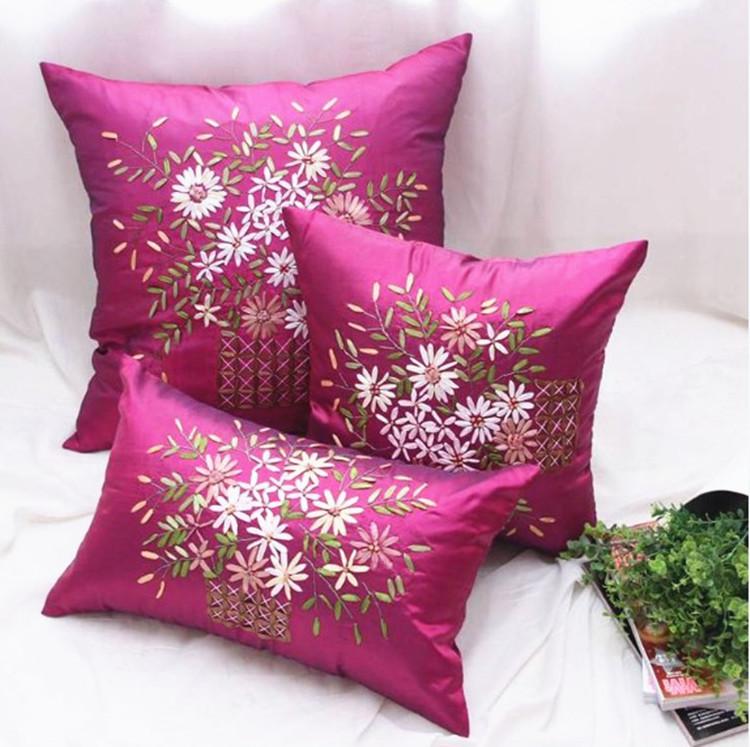 Cushion covers with ribbon embroidery makaroka