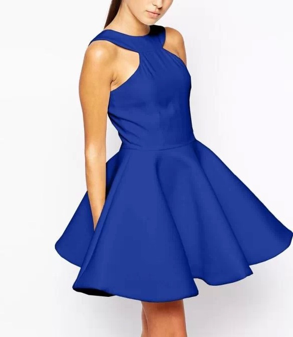 Xd2 Fashion Summer 2015 Women Elegant O Neck Sleeveless Blue skater Dresses Backless Casual Sexy Party Ball Gown Flare vestidos(China (Mainland))