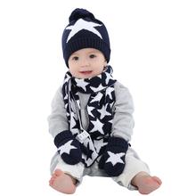 Dětský pletený set s hvězdami – rukavice, šála a čepice