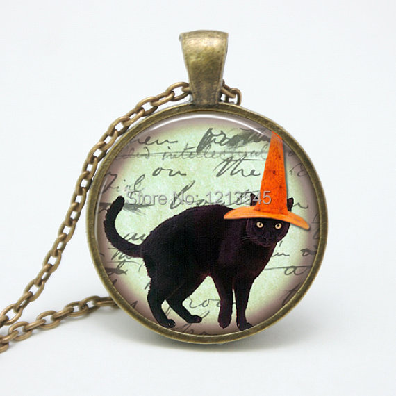 Halloween black cat necklace black hat cat pendant gothic for Cat in the hat jewelry