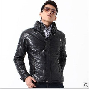 Free shipping Autumn and winter new men's jacket  fashion stand-up collar leather jacket classic black FLM093