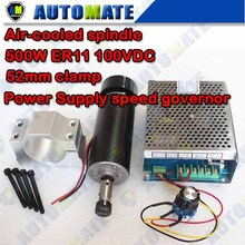 0.5kw Air cooled spindle ER11 chuck CNC 500W Spindle Motor + 52mm clamps  + Power Supply speed governor For DIY CNC SA010B(China (Mainland))