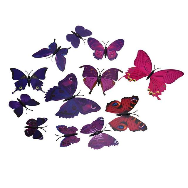 2016 12pcs Wall Stickers Home Decor Room 3d Butterfly