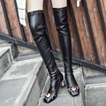 Colored Rivets Square Toe Side Zippers Medium Thick Heels Black Cowhide Stitching Elastic PU Over the