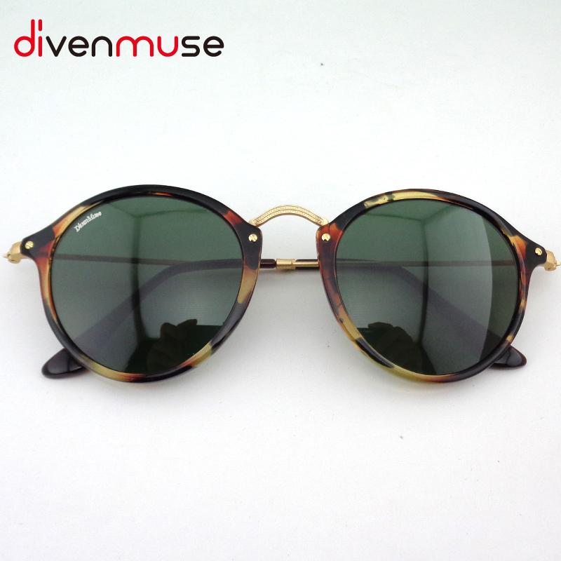High Quality Retro Round Tortoise Sunglasses Women Sun Glasses For Men Mens Fleck Sunglasses Brand Designer Lunette De Soleil