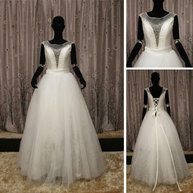 Wr078 2014 new style beautiful pakistani muslim bridal for New look wedding dresses