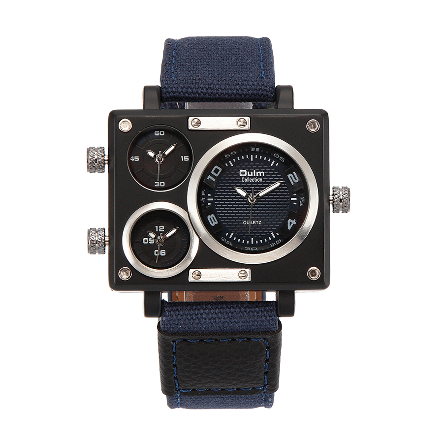 OULM Watch Men Military 3 Quartz Time Zones Fabric Strap Male Clock Sports Wrist Watches(China (Mainland))