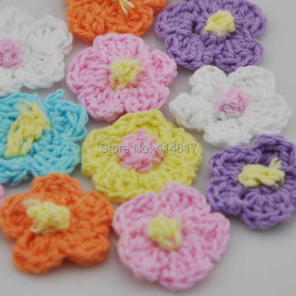 20pcs Crochet sunflower sewing appliques DIY Wedding Party Sewing Decoration A0138(China (Mainland))