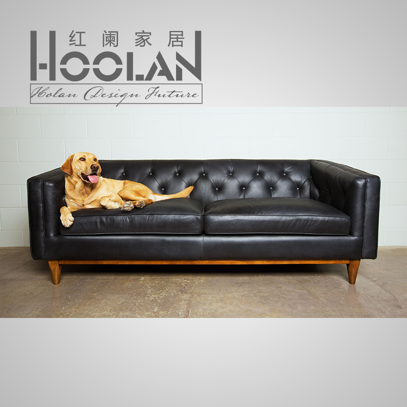 simple modern american country retro leather sofa pull buckle mono nordic ikea living room wood. Black Bedroom Furniture Sets. Home Design Ideas