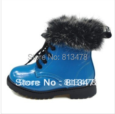 Boys Girls winter cotton-padded shoes children's boots/ kids Warm cute breathable rabbit fur martin boots - wendy hou's store