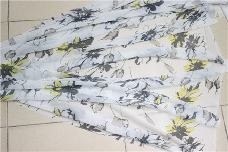 spring and summer material printing silk chiffon fabric for dress one piece width(China (Mainland))