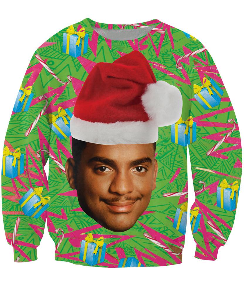 Carlton Crewneck Sweatshirt Fresh Prince of Bel-Air Christmas design Alfonso Ribeiro Jumper Women Men Fashion Sweats Hoodies(China (Mainland))