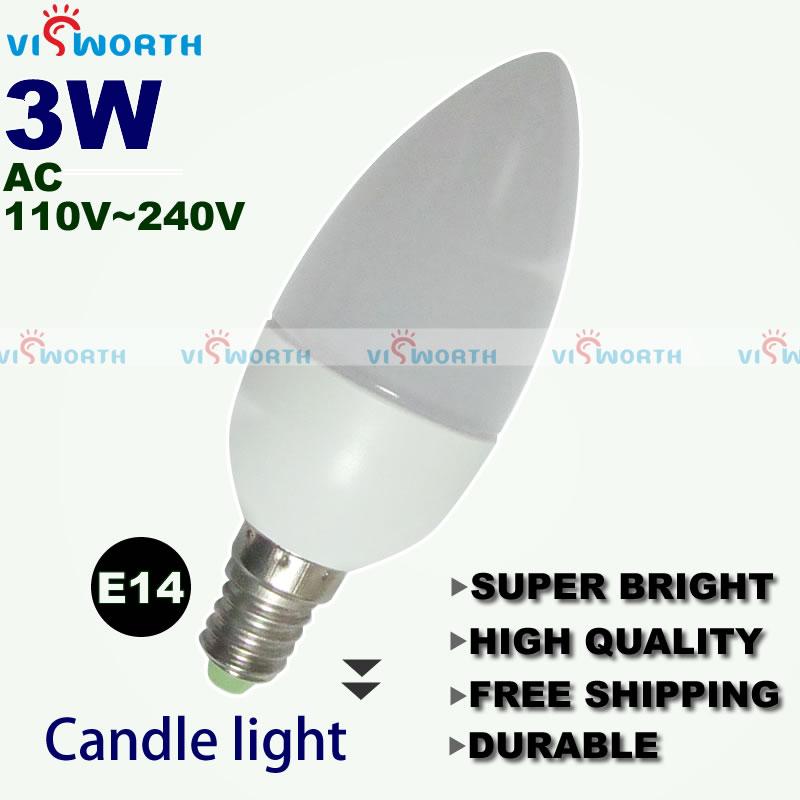 3W Christmas LED candle light e14 candle shape lamp led bulb crystal ceiling light warm white cold white ac 220v free