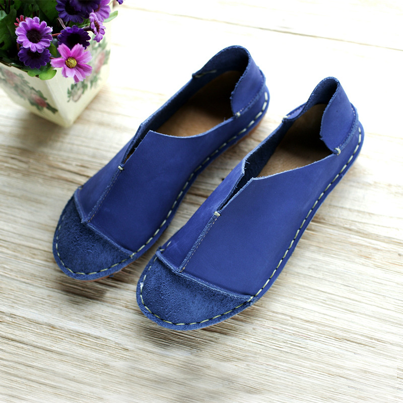 Hand-made Flat Shoes 4 Color Genuine Leather Round-toe Slip on Flats For Women Rustic Simplicity(5188-1)<br><br>Aliexpress