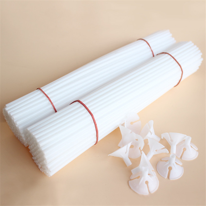 High quality 100sets/lot 30cm latex Balloon Stick white PVC rods for Supplies Balloons Wedding balloon decoration accessories(China (Mainland))