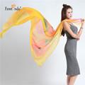 Ladies Long Silk Chiffon Scarf 2016 New Luxury Brand Flower Scarf Women Designer Scarf Summer Beach
