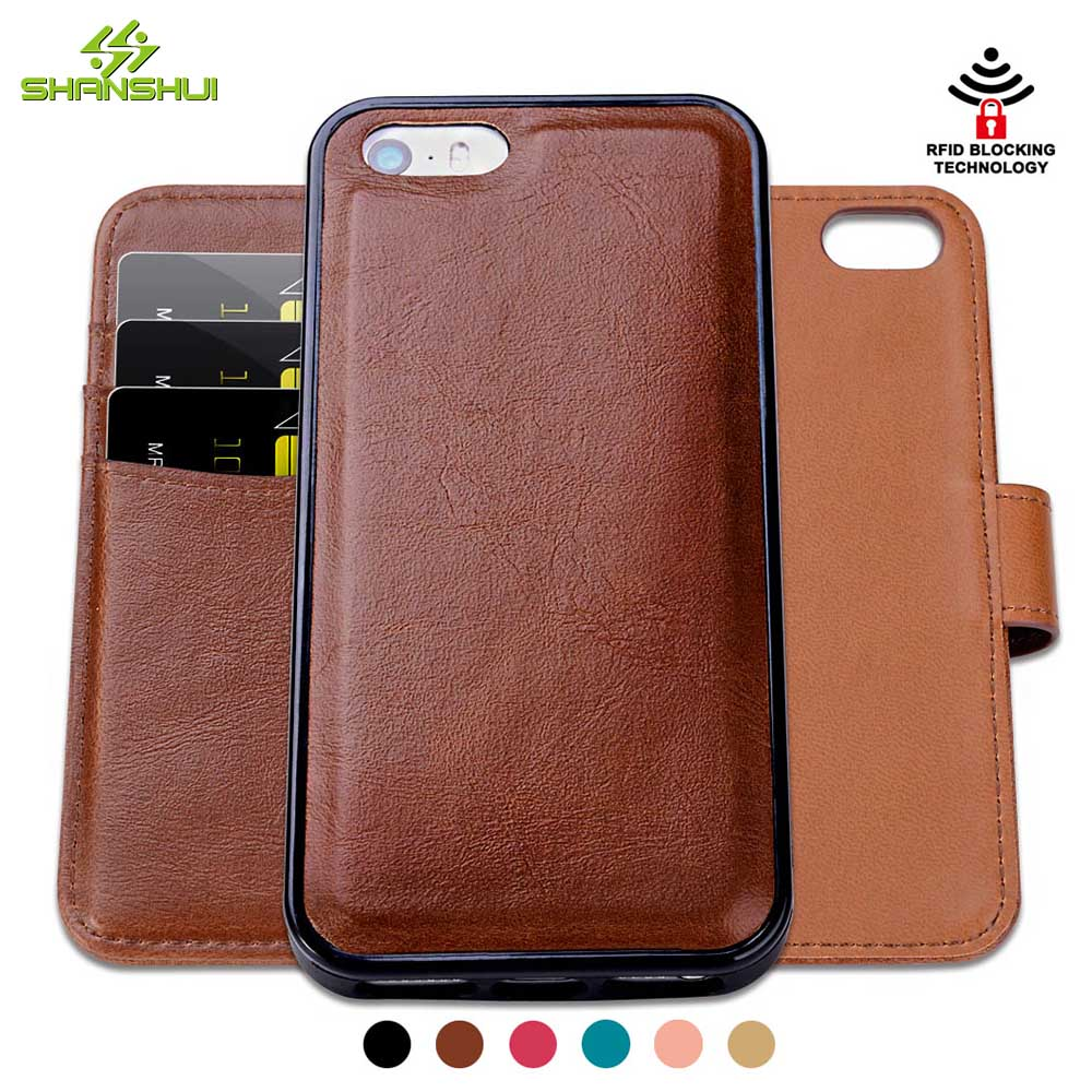 for iPhone SE 5 5s Detachable 2 in 1 PU Leather Wallet RFID Safe Protection SHANSHUI Magnetic Card Holders Flip Cases Handbags(China (Mainland))